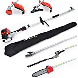 Maxtra 42.7cc Powerful 8.2 FT to 11.4 FT Extension 4 in 1 Gas Hedge Trimmer Pole Saw String Trimmer Brush Cutter Trimmer with Portable Bag