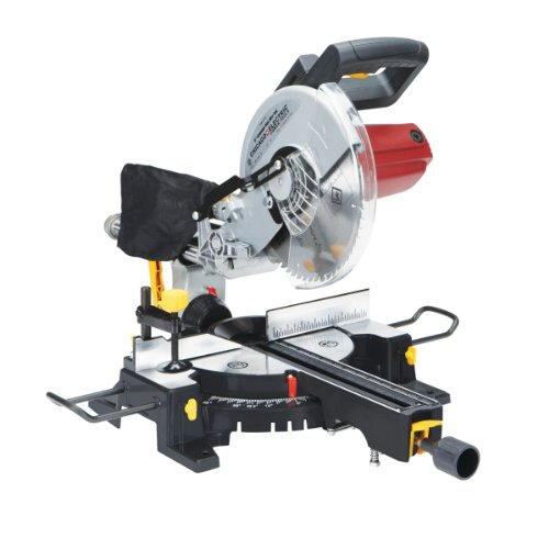 10 Inch Sliding Compound Miter Saw with 45 Degree Bevel and Dust Bag, Extension Bars and Table Clamp