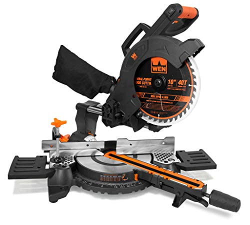WEN MM1011 15-Amp 10' Single Bevel Compact Sliding Compound Miter Saw with Laser