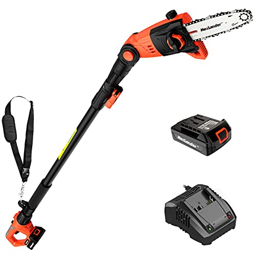 MAXLANDER 8 Inch Cordless Pole Saw, 20V Power Pole Chainsaw for Tree Trimming, Telescoping Electric Tool-Free Installation, Adjustable Head Pole Saw with 2.0Ah Battery & Fast Charger