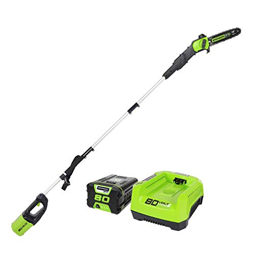 """Greenworks PRO 80V 10"""" Brushless Cordless Polesaw, 2Ah Battery Included PS80L210 (Renewed)"""