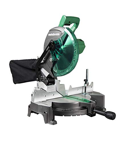 Metabo HPT Compound Miter Saw, 10-Inch, Single Bevel, 15-Amp Motor, 0-52° Miter Angle Range, 0-45° Bevel Range, Large Table, 10' 24T TCT Miter Saw Blade (C10FCGS)