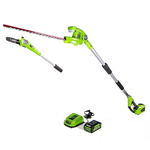 Greenworks PSPH40B210 8 Inch 40V Cordless Pole Saw with Hedge Trimmer Attachment 2.0Ah Battery and Charger Included