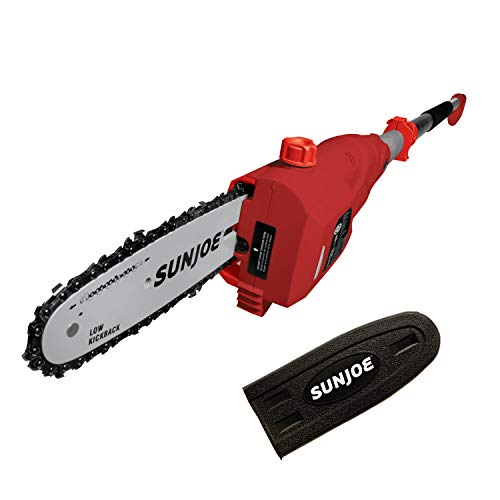 Sun Joe SWJ802E-RED 9 FT 6.5 Amp Electric Pole Chain Saw with Adjustable Head, Red