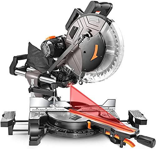 Miter Saw, 10inch 15Amp Double-Bevel Sliding Compound Miter Saw With Laser, Crosscutting Miter Saw, 3800rpm, Adjustable Cutting Angle, Extensible Table, 40T Blade