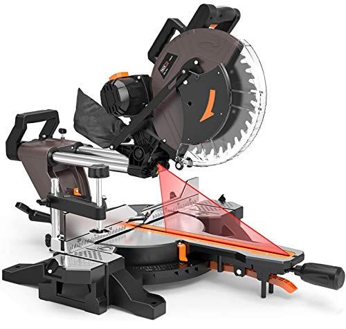 TACKLIFE 12-Inch, 15 AMP Double Sliding Compound Miter Saw, Double-Bevel Cutting (-45°-0°-45°) with Unique Double Linear Sliding Rail Design, Extensible Table, 40T Blade for Versatile Material Cutting